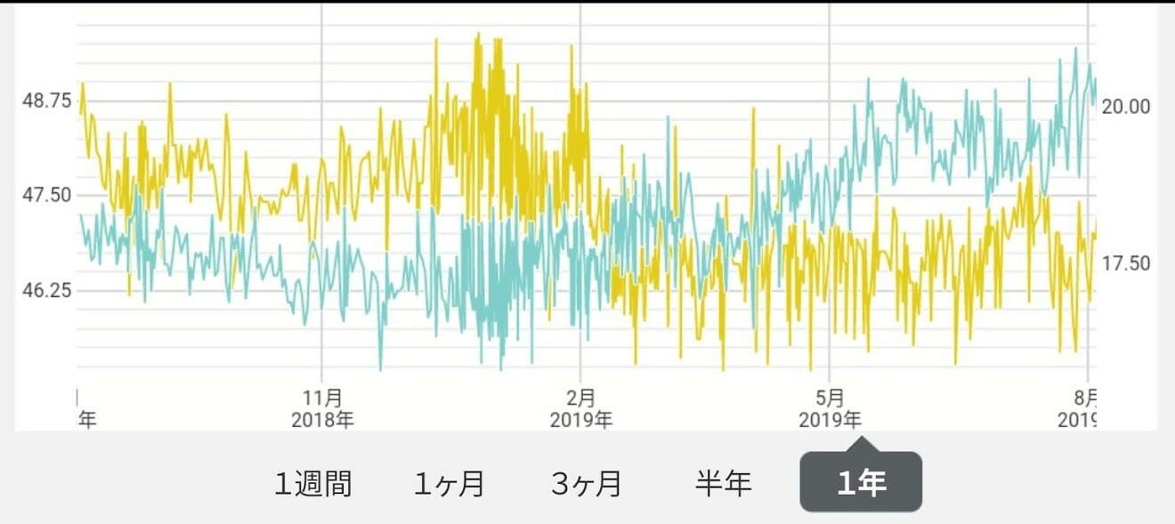 体組成計測定結果一年間のブラフ